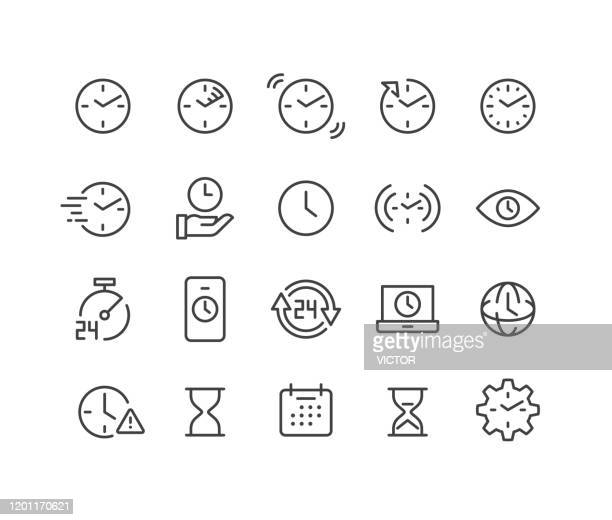 time and clock icons - classic line series - speed stock illustrations