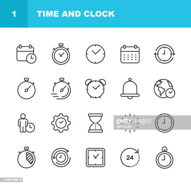 illustrazioni stock, clip art, cartoni animati e icone di tendenza di time and clock line icons. editable stroke. pixel perfect. for mobile and web. - gruppo di oggetti