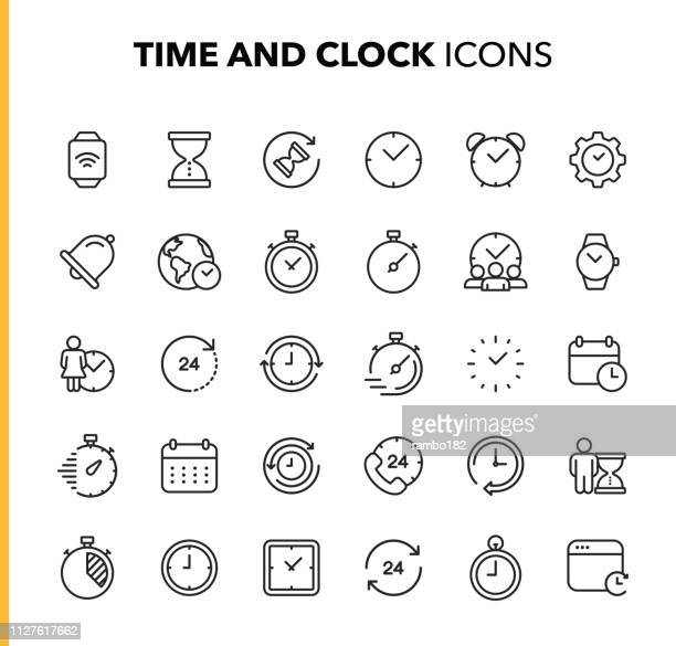 time and clock line icons. editable stroke. pixel perfect. for mobile and web. contains such icons as clock, time, deadline, calendar, smartwatch. - time stock illustrations