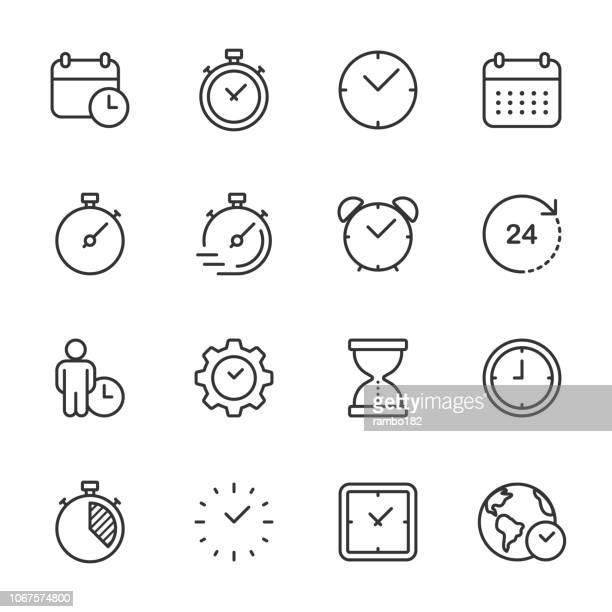 time and clock - outline icon set - timer stock illustrations