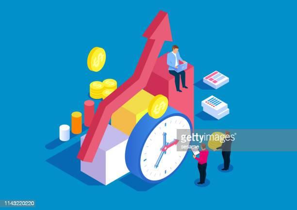ilustrações, clipart, desenhos animados e ícones de tempo e gestão financeira - tempo é dinheiro