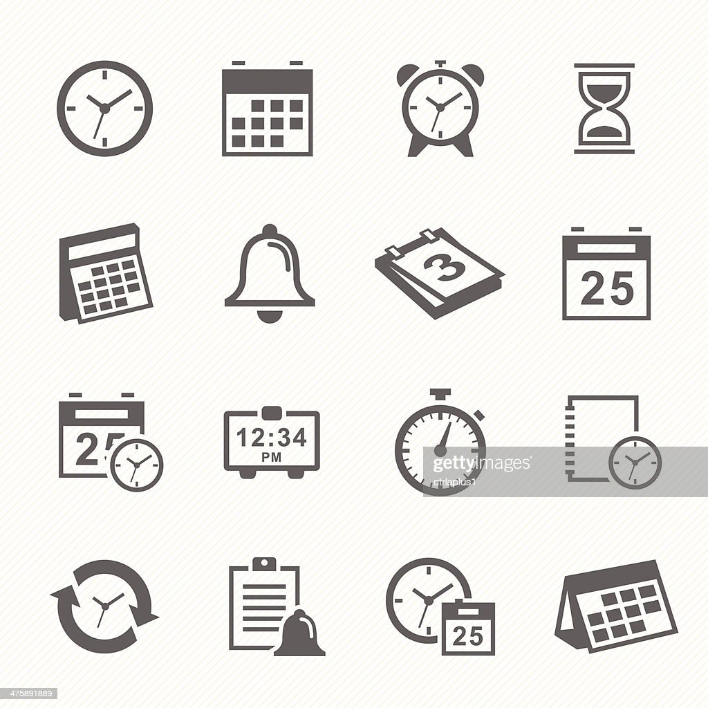 Time and Schedule stroke symbol icons set.