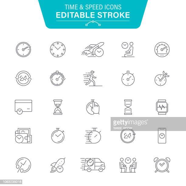 zeit und geschwindigkeit linie symbole - stoppuhr stock-grafiken, -clipart, -cartoons und -symbole