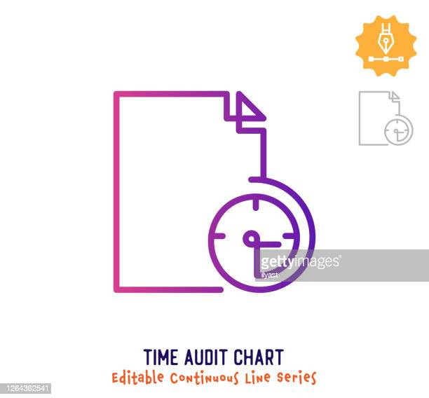 time audit chart continuous line editable stroke icon - weekday stock illustrations