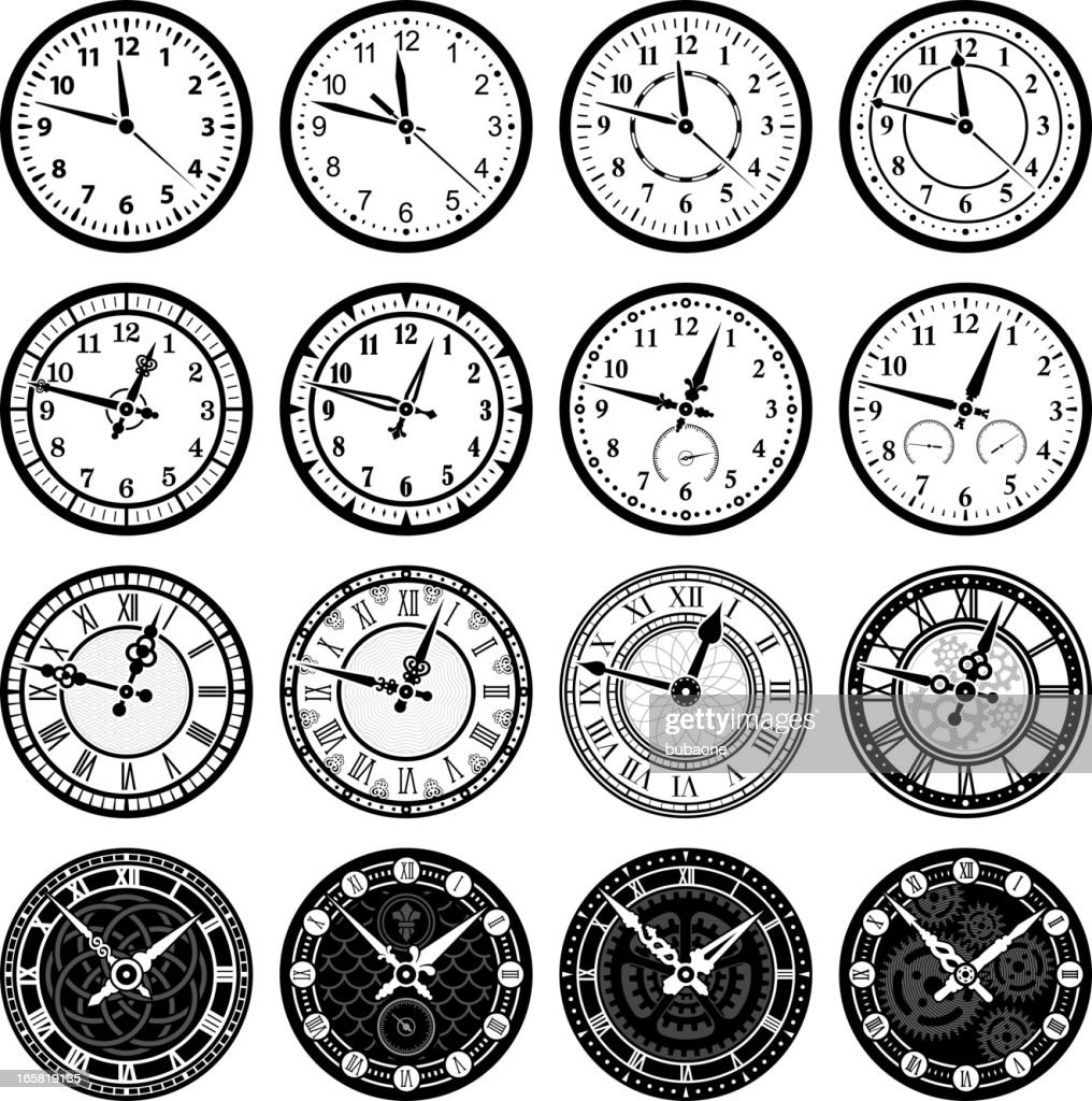 clock face stock illustrations and cartoons 5 O'Clock Pm time clock and watch royalty free vector icon set