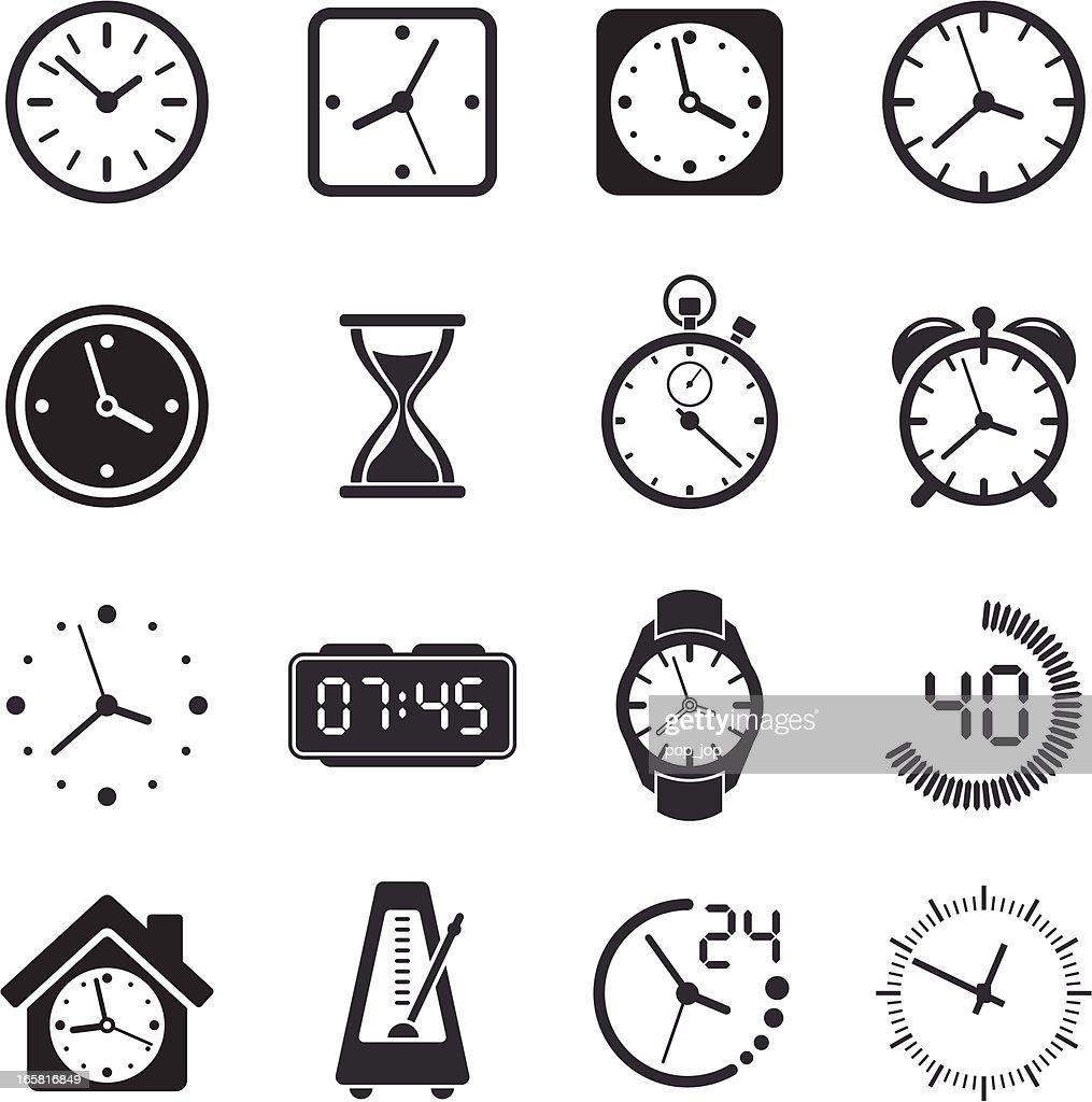 Time Clock Icon Set : Stock Illustration