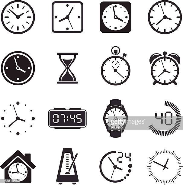 stockillustraties, clipart, cartoons en iconen met time clock icon set - klok