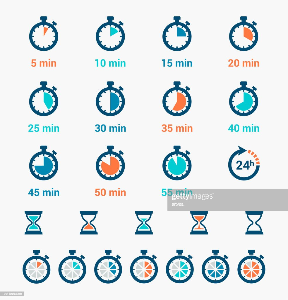 Time Clock Icons Set : stock illustration