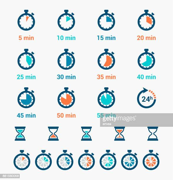 time clock icons set - number 2 stock illustrations