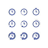 Time clock line icon set, fast delivery, quick service, working hours
