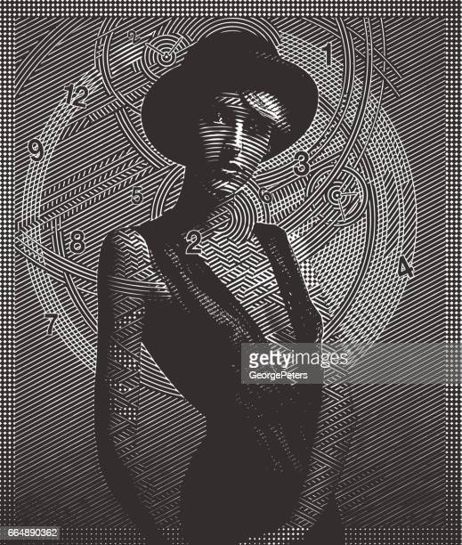 Time Concept with young sensuous hipster woman and clock face