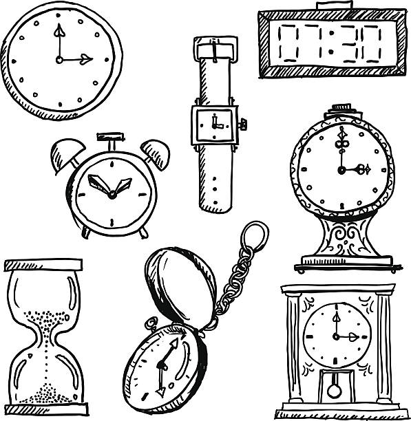 time elements in black and white - pencil drawing stock illustrations