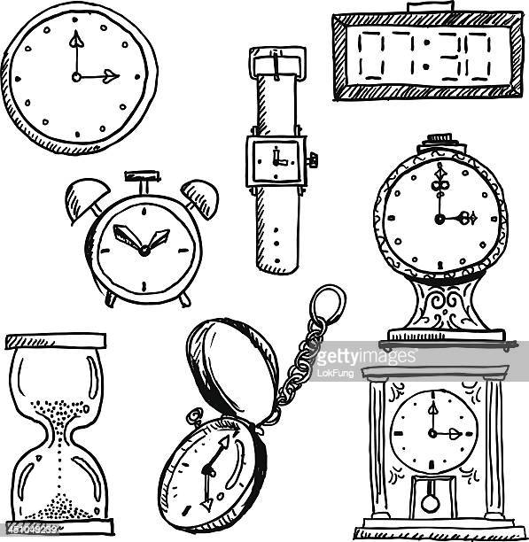 time elements in black and white - pencil drawing stock illustrations, clip art, cartoons, & icons