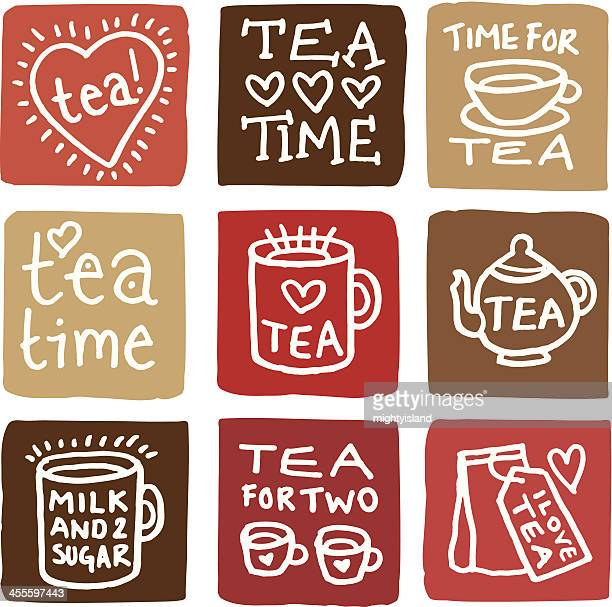 Time for tea icon set block icons