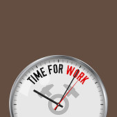 Time for Work. White Vector Clock with Motivational Slogan. Analog Metal Watch with Glass. Two Crossed Hammers Icon