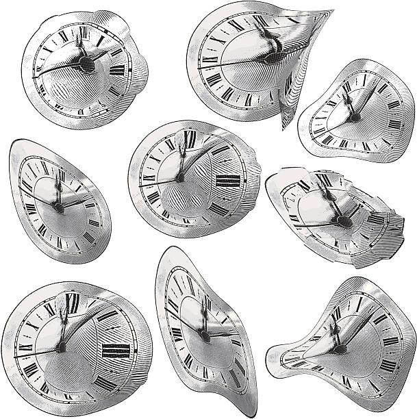 time & gravity - melting stock illustrations