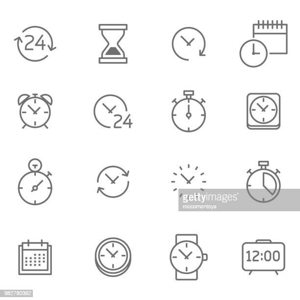 stockillustraties, clipart, cartoons en iconen met tijd pictogrammenset - illustratie - klok