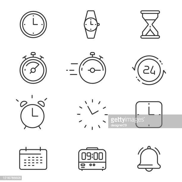 time icon set line vector design. - time stock illustrations