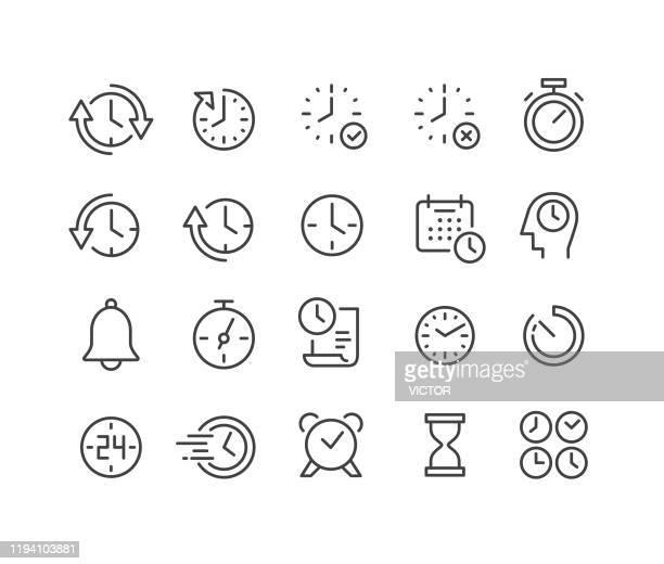 illustrazioni stock, clip art, cartoni animati e icone di tendenza di time icons set - classic line series - giorno