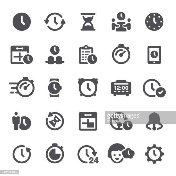 stockillustraties, clipart, cartoons en iconen met de pictogrammen van de tijd - klok