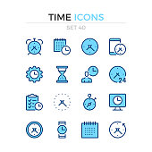 Time icons. Vector line icons set. Premium quality. Simple thin line design. Stroke, linear style. Modern outline symbols, pictograms.