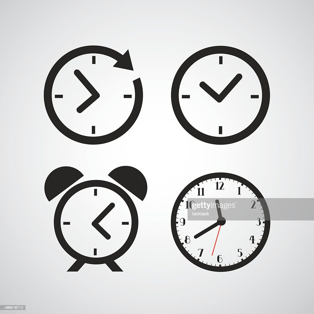 Time icons with different time periods in black