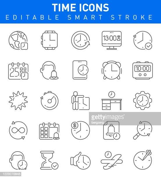 zeit-icons mit zeitmanagement, kalender, timer, smartwatch, uhr und deadline-zeichen. bearbeitbare strichsammlung - frist stock-grafiken, -clipart, -cartoons und -symbole