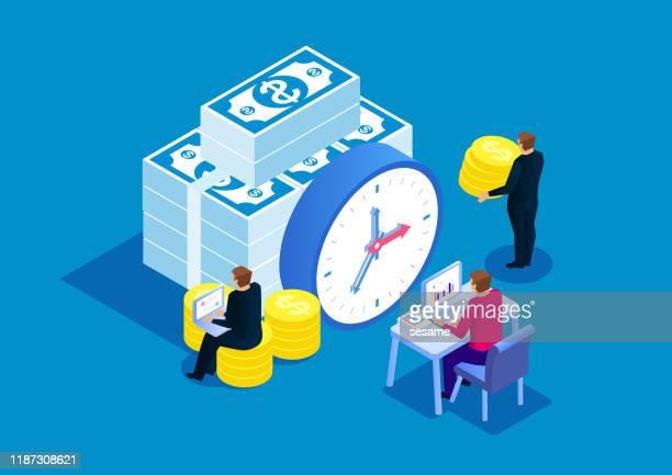 時間はお金、目覚まし時計と積み重ねられた金貨、締め切りです - 投資点のイラスト素材/クリップアート素材/マンガ素材/アイコン素材