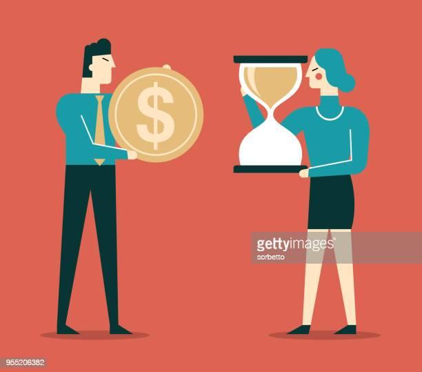 ilustrações, clipart, desenhos animados e ícones de tempo é dinheiro - empresários - tempo é dinheiro
