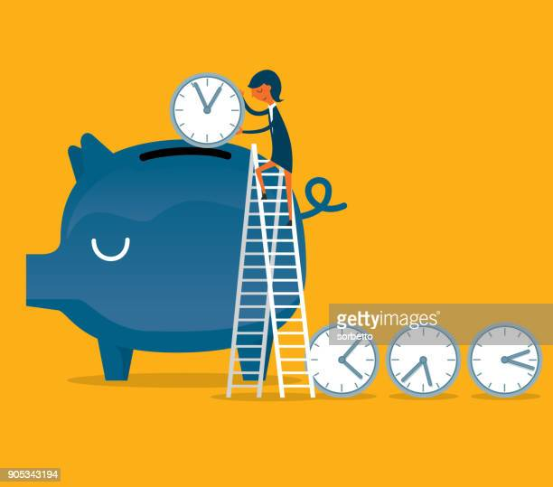 time is money - businesswoman - time stock illustrations