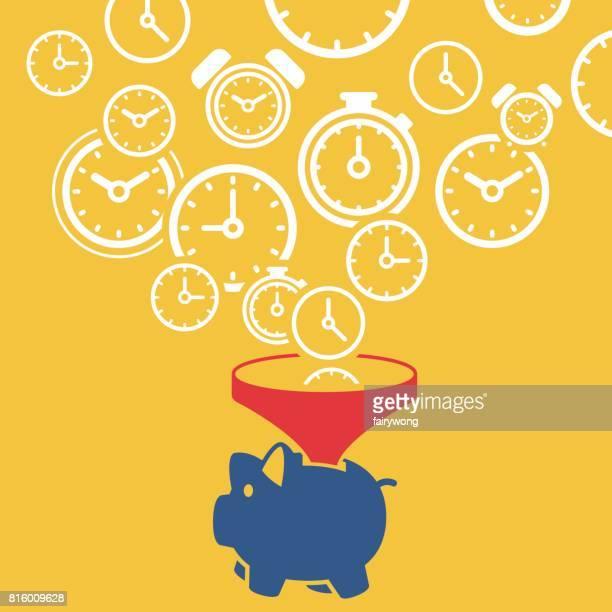 ilustrações, clipart, desenhos animados e ícones de o tempo é o conceito de dinheiro  - tempo é dinheiro