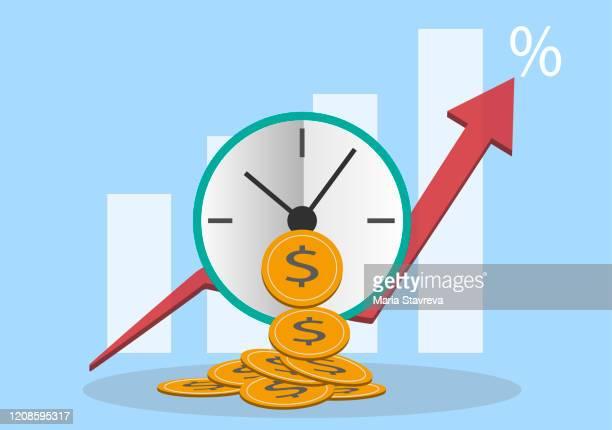 ilustraciones, imágenes clip art, dibujos animados e iconos de stock de el tiempo es dinero. - impuestosobrelarenta