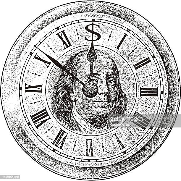 time is money - benjamin franklin stock illustrations, clip art, cartoons, & icons