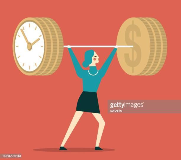 ilustrações, clipart, desenhos animados e ícones de tempo é dinheiro, halterofilismo, empresária - tempo é dinheiro