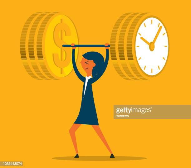 ilustrações, clipart, desenhos animados e ícones de tempo é dinheiro, levantamento de peso - empresária - tempo é dinheiro