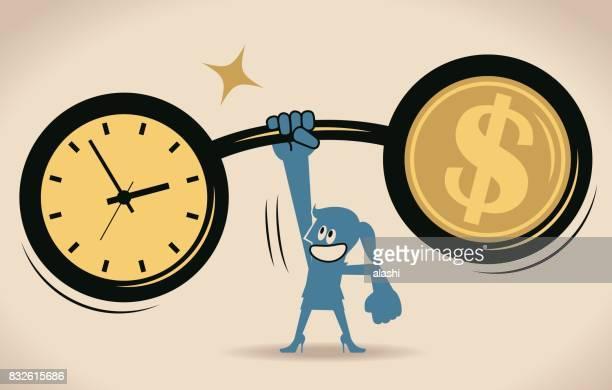 ilustraciones, imágenes clip art, dibujos animados e iconos de stock de el tiempo es dinero, levantamiento de pesas, empresaria sana (mujer, muchacha) levantando un reloj de tiempo y peso de signo de dólar (barbell) por un lado, tiempo de administración y negocios concepto de crecimiento - madre trabajadora