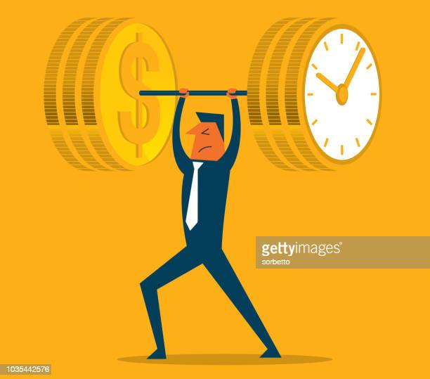 time is money, weightlifting - weight training stock illustrations