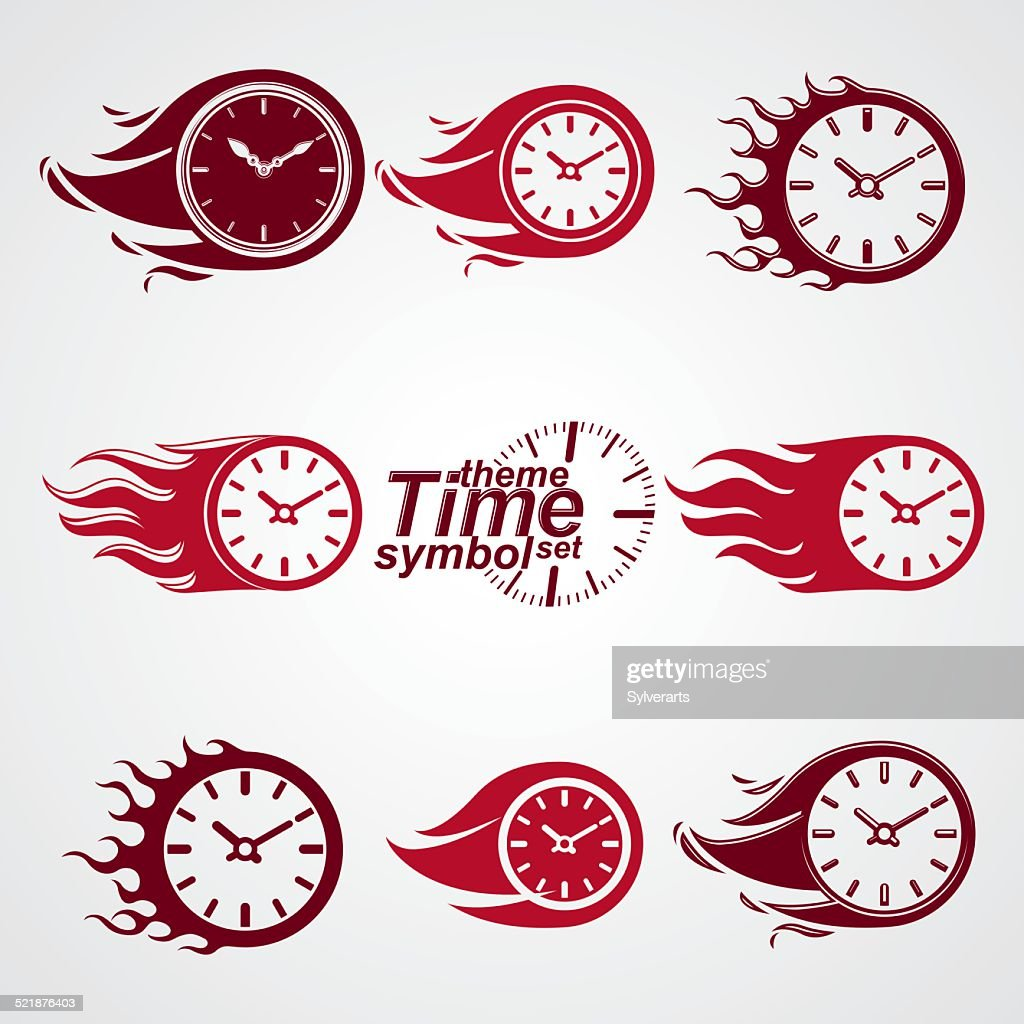 Time is running out concept, vector timers with burning flame.