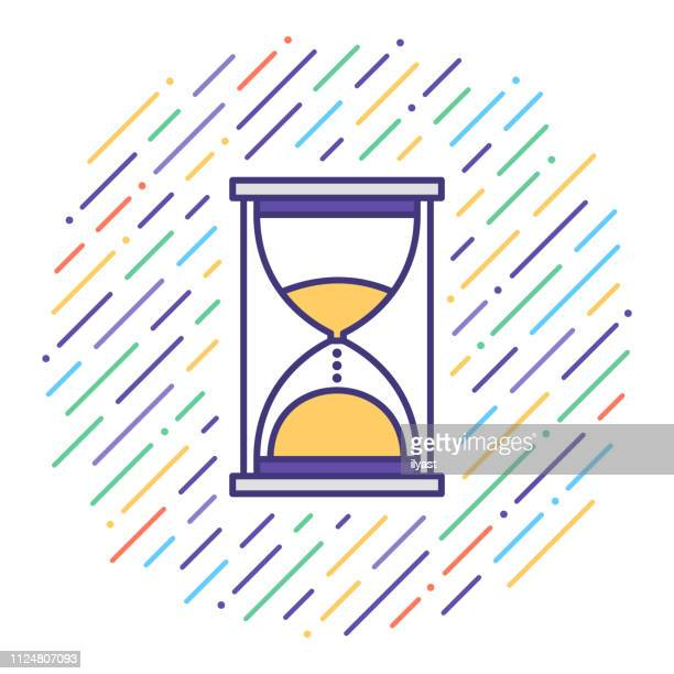time limit deadline flat line icon illustration - counting stock illustrations