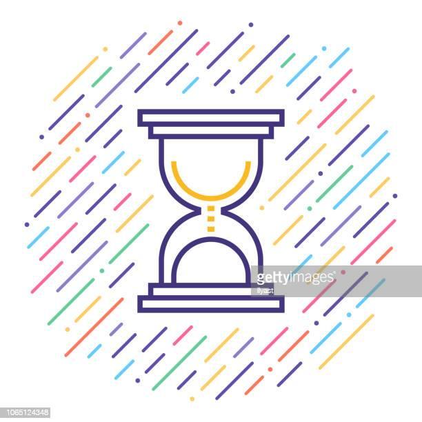 ilustrações, clipart, desenhos animados e ícones de tempo limite de linha icon ilustração - cronômetro instrumento para medir o tempo