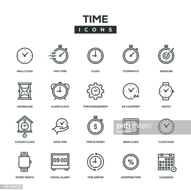 time line icon set - the past stock illustrations