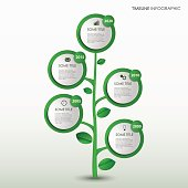 Time line info graphic with abstract design green tree template