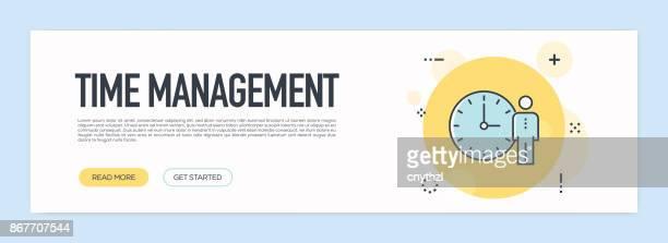 Time Management Concept - Flat Line Web Banner