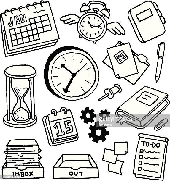 time management doodles - pencil drawing stock illustrations