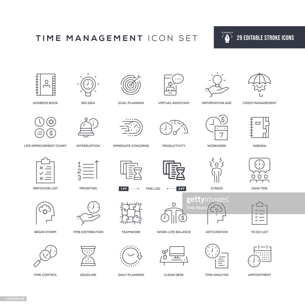 Time Management Editable Stroke Line Icons : stock illustration