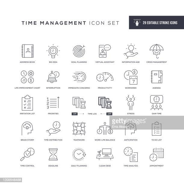 time management editable stroke line icons - time stock illustrations