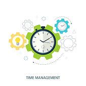 time management gear flat vector