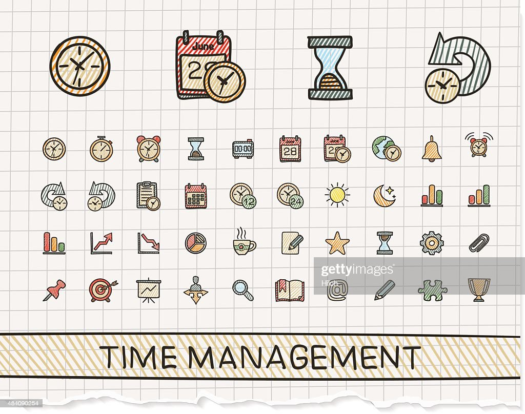 Time management hand drawing line icons. Vector doodle pictogram set