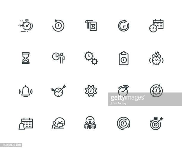 time management icon set - thick line series - at the edge of stock illustrations