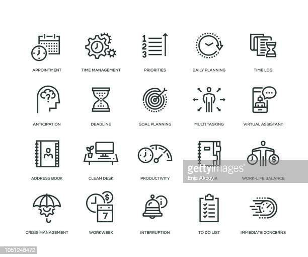 time management icon set - list stock illustrations, clip art, cartoons, & icons